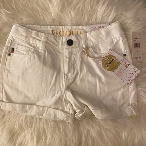 V*Gold white denim shorts